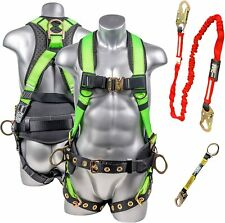 Palmer Safety Premium Fall Protection Full Body 5 Point Harness Kit Hivis Green