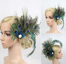 1920s Peacock Feather Headpieces Fascinator Hair Clip Bridal Wedding Festival US