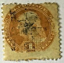 1869 USED US BEN FRANKLIN STAMP #112 GRILL