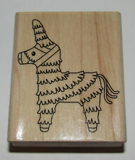 Pinata Rubber Stamp New Donkey Hero Arts Wood Mounted Party 2.5