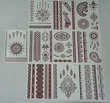 Lot-10 Sheets Red/Brown High Quality Henna Lace Boho Mehndi Temporary Tattoos