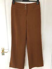 DEBENHAMS Brown High Waisted Wide Leg Smart Trousers, Size 10 Short