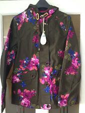 BNWT Joules Right As Rain Waterproof hood Jacket coat coast print khaki floral 8