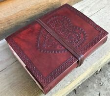 HAND MADE LEATHER JOURNAL BLANK  DIARY NOTEBOOK HEART CHIC BOOK SKETCH GIFT PAD