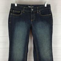 Ann Taylor womens size 4P stretch blue faded dark wash low curvy bootcut jeans