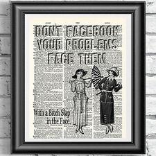 VINTAGE Victorian Lady Facebook problemi dizionario pagina WALL ART PICTURE