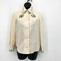 Vtg Handmade Womens 70s Floral Bird Embroidered Pointy Collar Shirt Sz M?