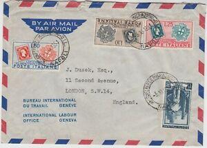 ITALY 1951 *SARDINIAN STAMP CENTENARY* set of 3 on FDC NAPOLI-LONDON