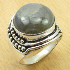 Gifts For Grandson !! 925 Silver Overlay LABRADORITE HANDMADE Ring Size T 1/2
