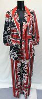 River Island Women Floral Print Belted Ruched Blazer w/ Pants GG8 Red UK:10 US:6
