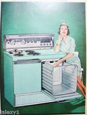 1959 FRIGIDAIRE Turquoise RANGE Oven Stov Kitchen APPLIANCE Retro Fifties VTG Ad