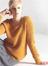 $338 BNWT Eileen Fisher Alpaca Silk Horizontal Rib OCHRE Shaped Sweater M
