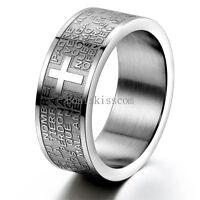 Men's Women's Stainless Steel Ring Spanish Lord's Prayer Cross 8mm Wedding Band