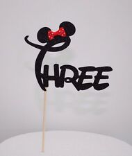 "Minnie Mouse Glitter ""THREE"" Cake Topper Birthday Party Black With Red Bow"