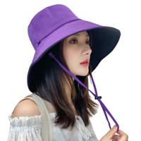 Women Bucket Hat Reversible Sun Hat UV Protection Detachable Cord Purple