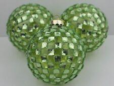 GISELA GRAHAM CHRISTMAS GREEN DIAMANTE GLASS BAUBLE BALL DECORATION X 3