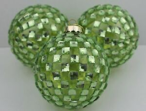 GISELA GRAHAM CHRISTMAS GREEN DIAMANTE GLASS BAUBLE BALL DECORATION X 3