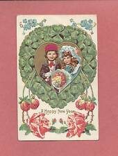 Adorable CHILDREN On Beautiful Embossed Vintage Austrian-Made NEW YEAR Postcard