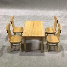 Casa De Muñecas Mesa Redonda De Nogal Y 2 Sillas Comedor Muebles Set En Miniatura