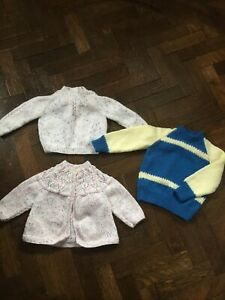"3 X Hand Knitted  Baby Cardigans Jumpers Bundle 10"" U/arm Girl/Boy Brand New ❤️"
