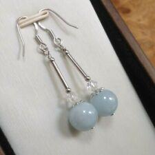 9mm Aquamarine, Crystal & 925 Sterling Silver - Pale Blue - Drop Earrings