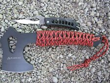 2 in 1 Outdoor Axt + Taschenmesser Tomahawk Messer Campingbeil Paracord Beil