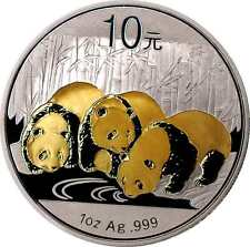 1 OZ Silber 10 Yuan CHINA PANDA 2013 mit Goldapplikation gilded
