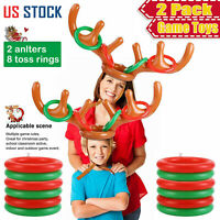 2 Pack Inflatable Christmas Reindeer Antler Hat Toss Ring Family Party Game Toys