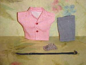1958 VOGUE #6133 Jeff Gray Shorts + Red Check Shirt & Black Belt + Single Sock