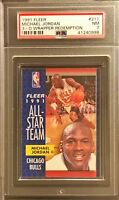 PSA 7 MICHAEL JORDAN 1991-92 Fleer 3D Acrylic Wrapper Redemption #211 AS Nr-MINT