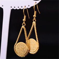 Sparkle coin shape Dangle Hook Earrings Free Ship Jewerly 14k Yellow Gold Filled