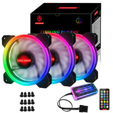 Quiet LED Strips 120mm Computer Chassis 3 RGB Cooling Fans With 1 Remote Control