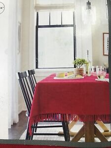 Threshold Tablecloth Red Oblong Fringe Country Farmhouse Cotton NEW 60x104 NWT