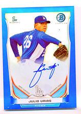 2014 14 Bowman Chrome Julio Urias Blue Ref Auto Autograph 73/150 Dodgers