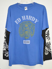 "NEW ED HARDY  boys ""TATTOO INK"" long sleeve tuffer graphic tshirt   SIZE: XL"