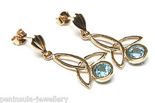 9ct Gold Blue Topaz Celtic Drop Earrings Made in UK Gift Boxed