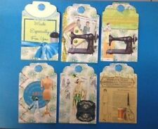 6 VINTAGE SEWING SEAMSTRESS THEME TAGS CARD MAKING SCRAPBOOKING EMBELLISHMENTS