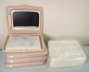 Lot 4 Mary Kay 2-Sided Pink Consultant Mirrors & 26 Disposable Makeup Trays