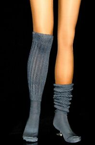 4 Flawed Dk Gray Slouch Knee Scrunchie Socks Hooters Sports Long Heavy Women's