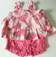 Baby Girl 12-18 Month Gymboree Pink Watermelon Fruit Print Ruffle Top & Shorts