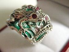Sterling Silver Art Nouveau French inspired stained Glass Ruby Frog Ring O½   7¼