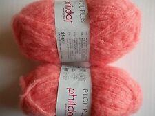 Phildar Pilou Plus brushed stretch yarn, Coraline (coral), lot of 2 (88 yds ea)