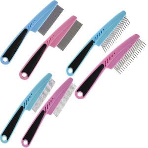 Fine  Medium and Detangling Flea Dog Cat Comb Metal Teeth Healthy Fur Hair Coat