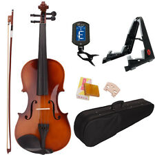 New 4/4 Size Natural Color Acoustic Violin Fiddle+Case+Bow+Rosin+Tuner+Stand