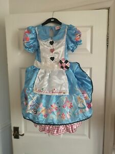 Girls Alice In Wonderland Dress Up Costume By Tu Aged 7-8  (official Disney )