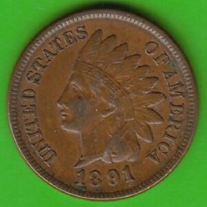 USA Indian Head Cent 1891 IN Vf-Xf Nice nswleipzig