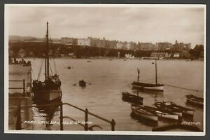 Postcard Isle of Man boats in Port Erin Bay posted 1934 RP