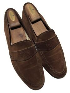 Yves Saint Laurent Men's Suede Brown Perforated Apron Toe Loafers - 10.5 M Spain