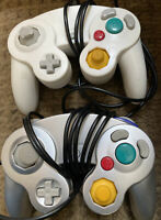 Lot Of 2  Game Cube Controllers 1 Silver 1 White Untested As Is
