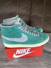 Nike Blazer Suede Green Grey Hi top Trainer Shoes UK 8 EU 42